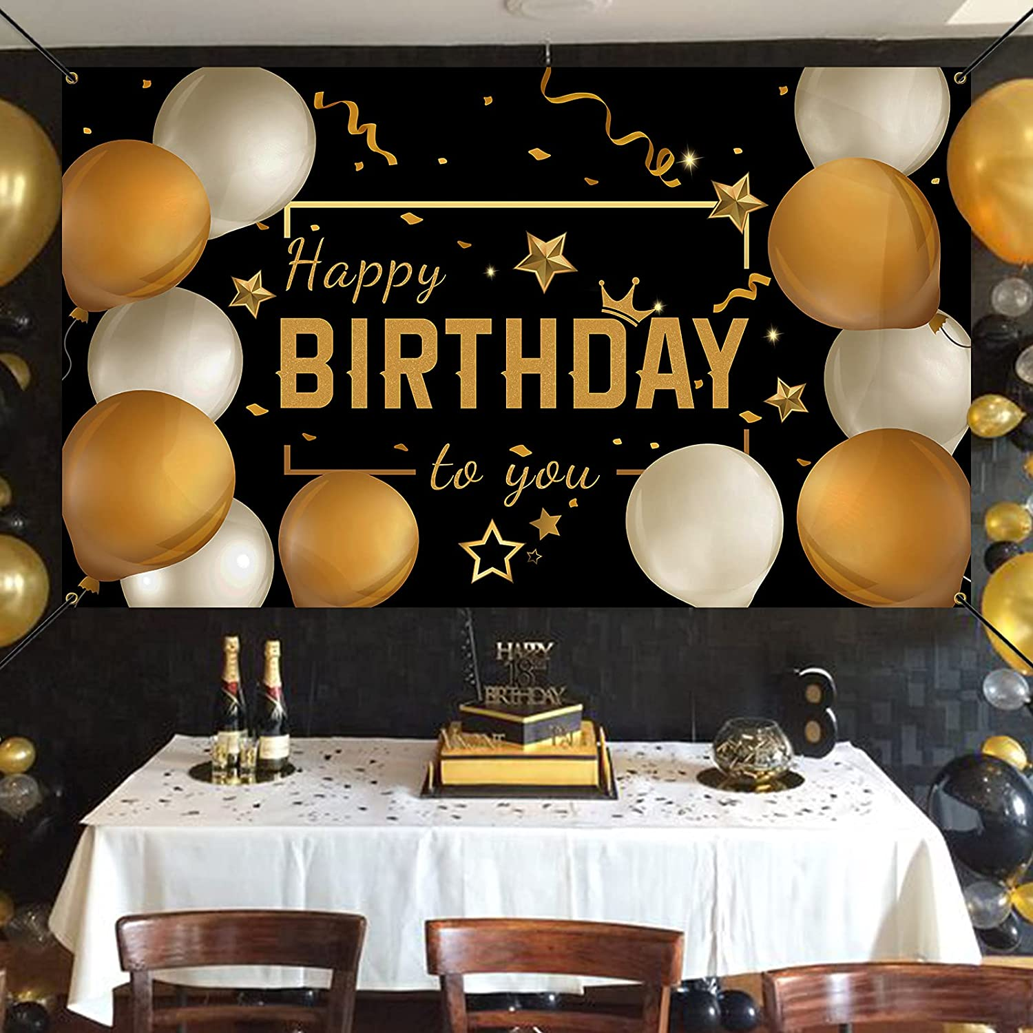 Black Gold 73 x 43 Balloons Birthday Signs Decor for Men Women Bunny Chorus Happy Birthday Backdrop Banner Decorations for Party Supplies