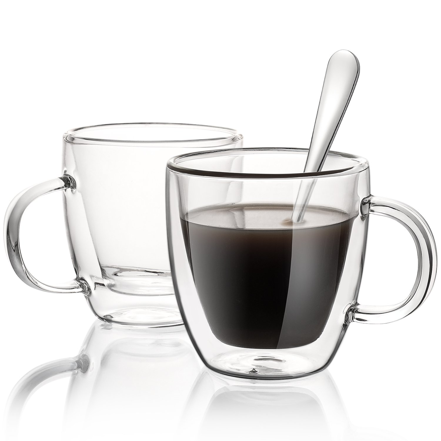 Aozita Glasses Espresso Mugs with Spoons, 5.4-Ounce Cappuccino/Latte Cups, Double Walled Thermo Espresso Cups, Set of 2