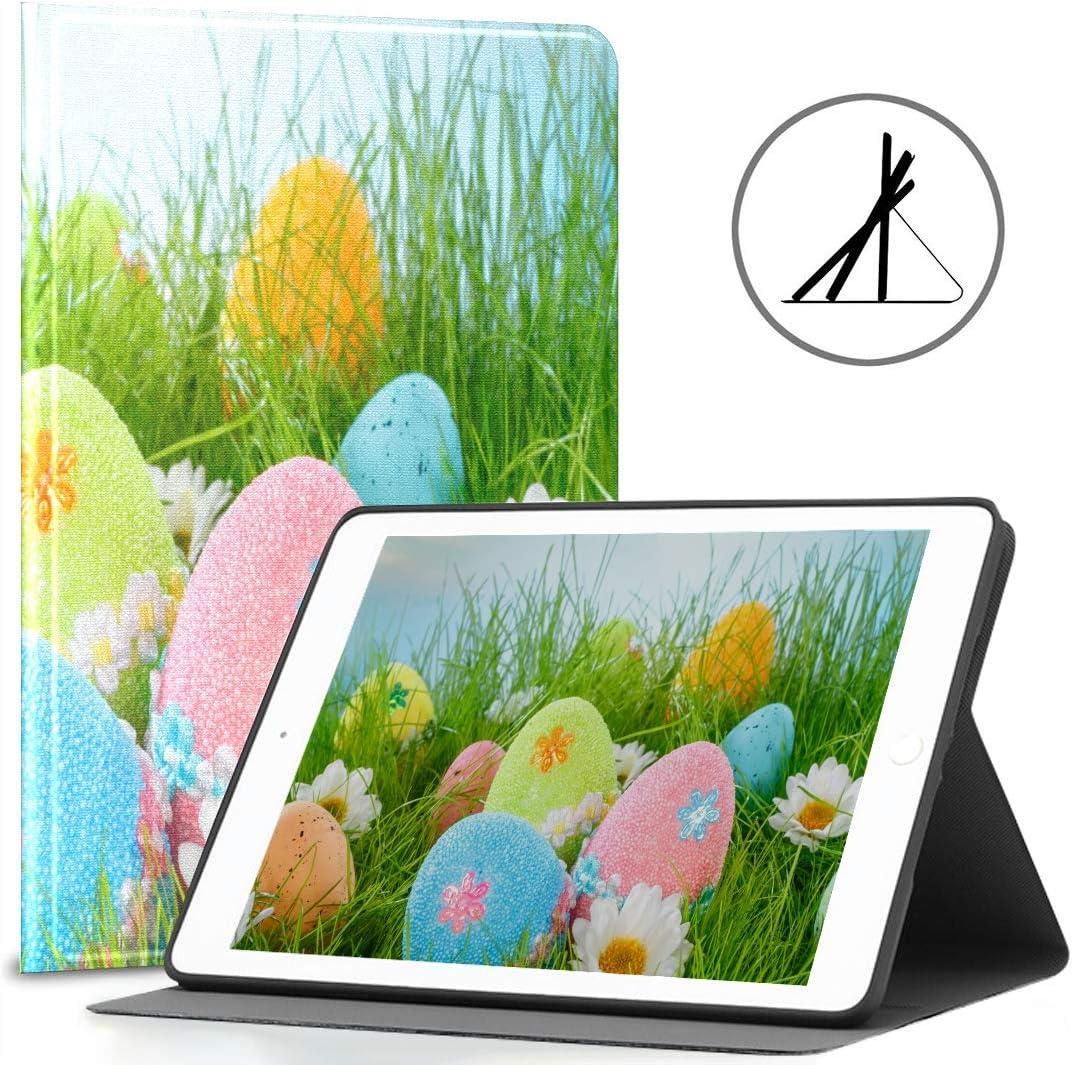 iPad 9.7 Estuche para niñas Huevos de Pascua Decorados Hierba en Azul Fit 2018/2017 iPad 5ta / 6ta generación La Cubierta de la Pantalla del iPad 9.7 también se Ajusta al iPad