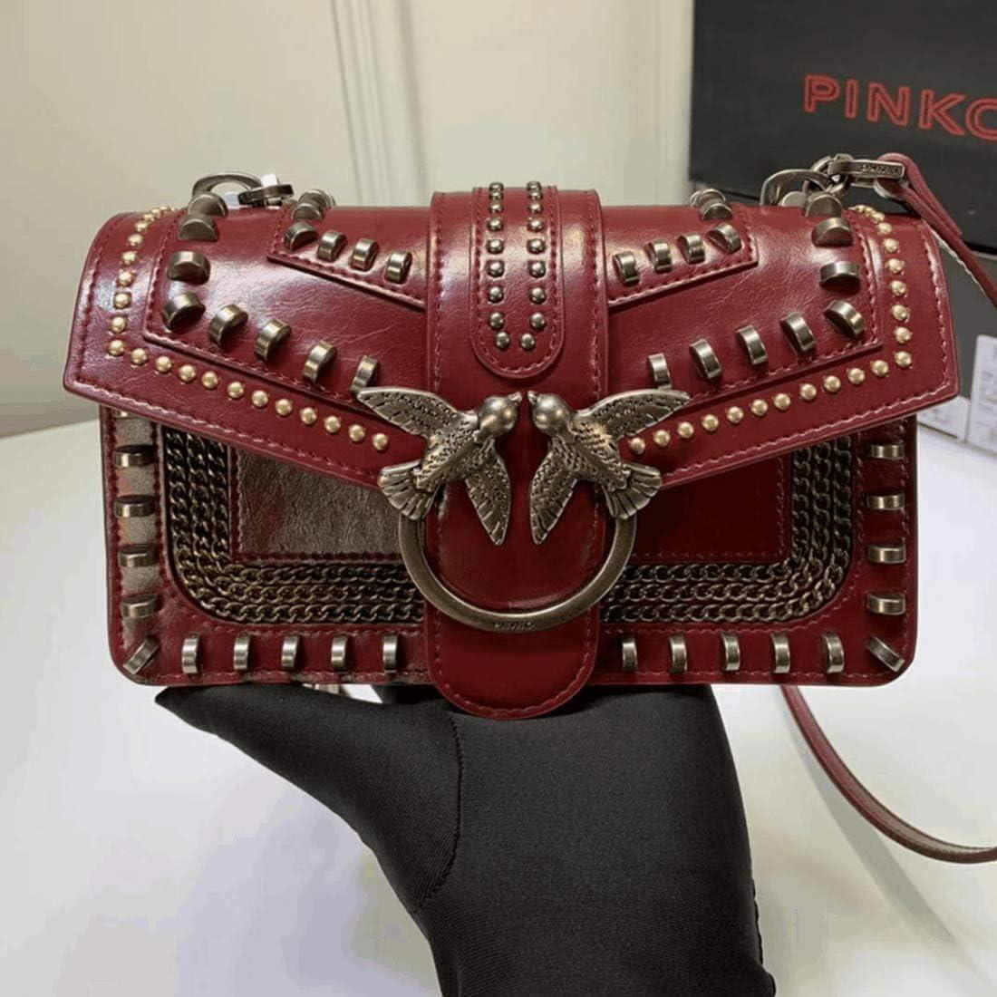 Borsa a tracolla Love Pinko da donna, set di rivetti, tracolla a catena in metallo, struttura opaca