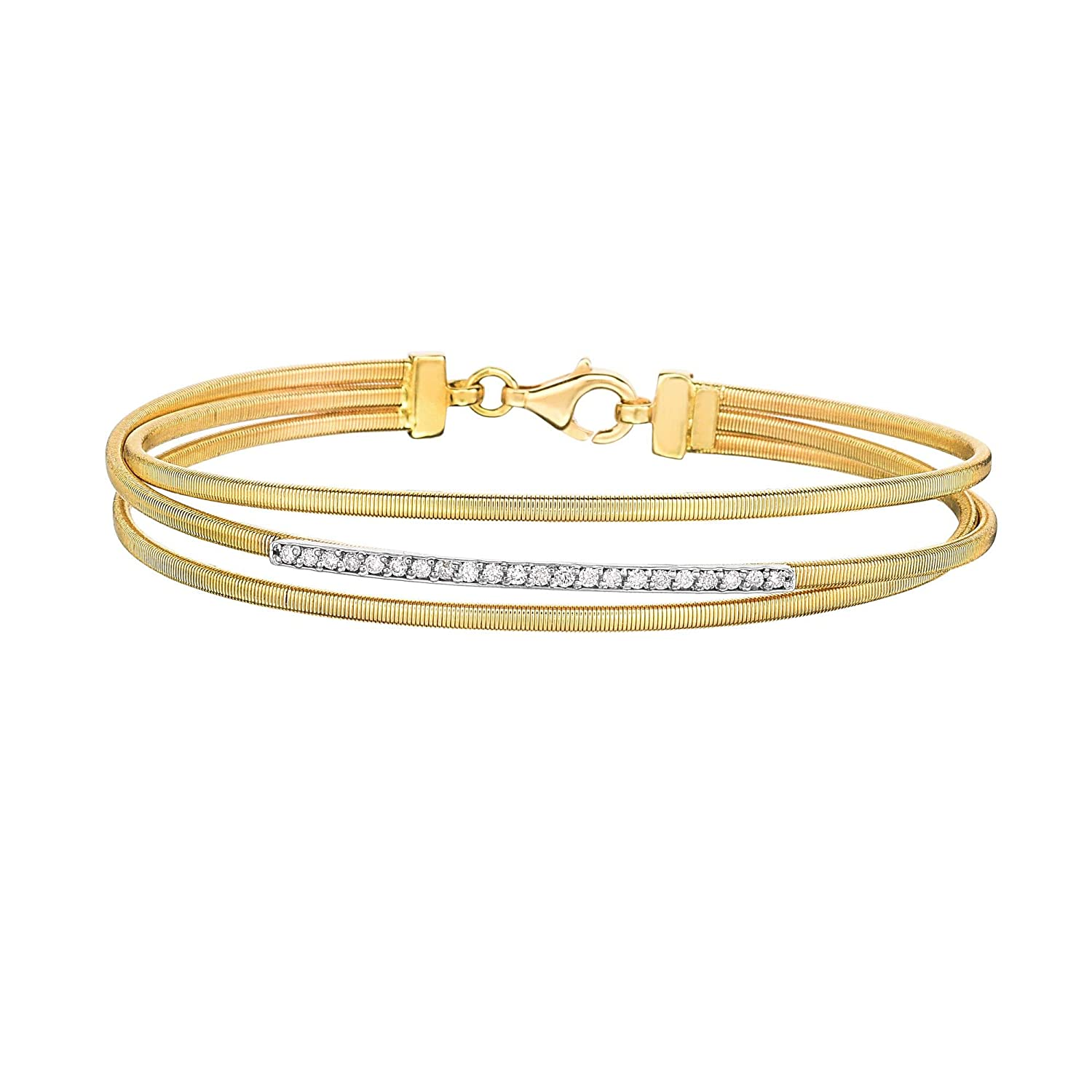 14K Yellow Gold 0.22ct Round Diamonds Bar Element on 3 Row Wire Bangle 7 Lobster Clasp by IcedTime