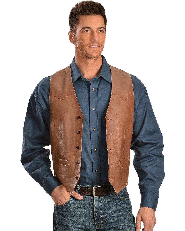 Scully Men's Lamb Leather Vest Antique Brown 40 R