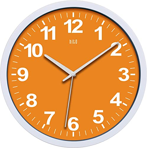 hito Silent Wall Clock Non Ticking 12 inch Excellent Accurate Sweep Movement, Modern Decorative for Kitchen, Living Room, Bathroom, Bedroom, Office, Classroom Orange