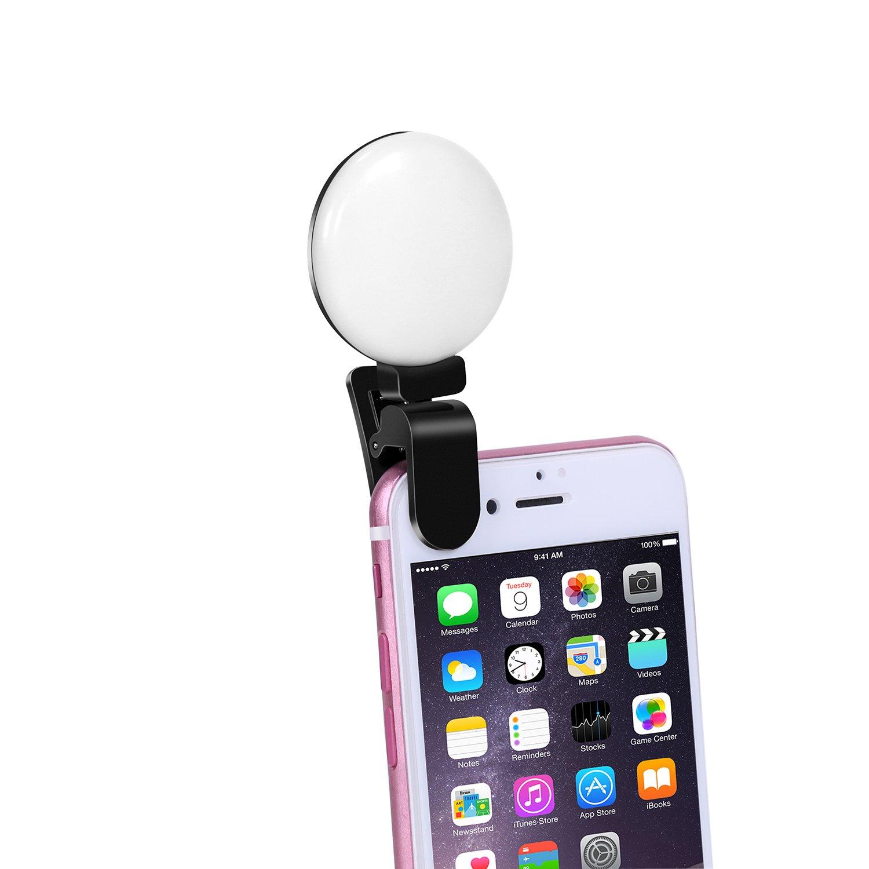 bidafunクリップon自撮りLED Oリングライトforスマート電話カメラ S DSL-SW-201711011525 B0772HLJL7Small white light