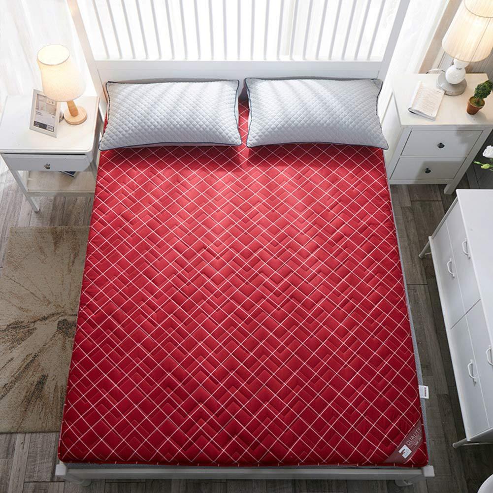 厚め ベッドパッド, 折りたたみ 和風 床 布団 マットマット 学生 寮 ダブル 1 マットレスをロールアップします。-a B07S7CXFHN