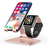 Apple Watch Stand, OMOTON 2 in 1 Universal Desktop Cell Phone Stand and Apple Watch Stand, Advanced 4mm Thickness Aluminum Stand Holder for iPhone and Apple Watch (Both 38mm & 42mm), Rose Gold