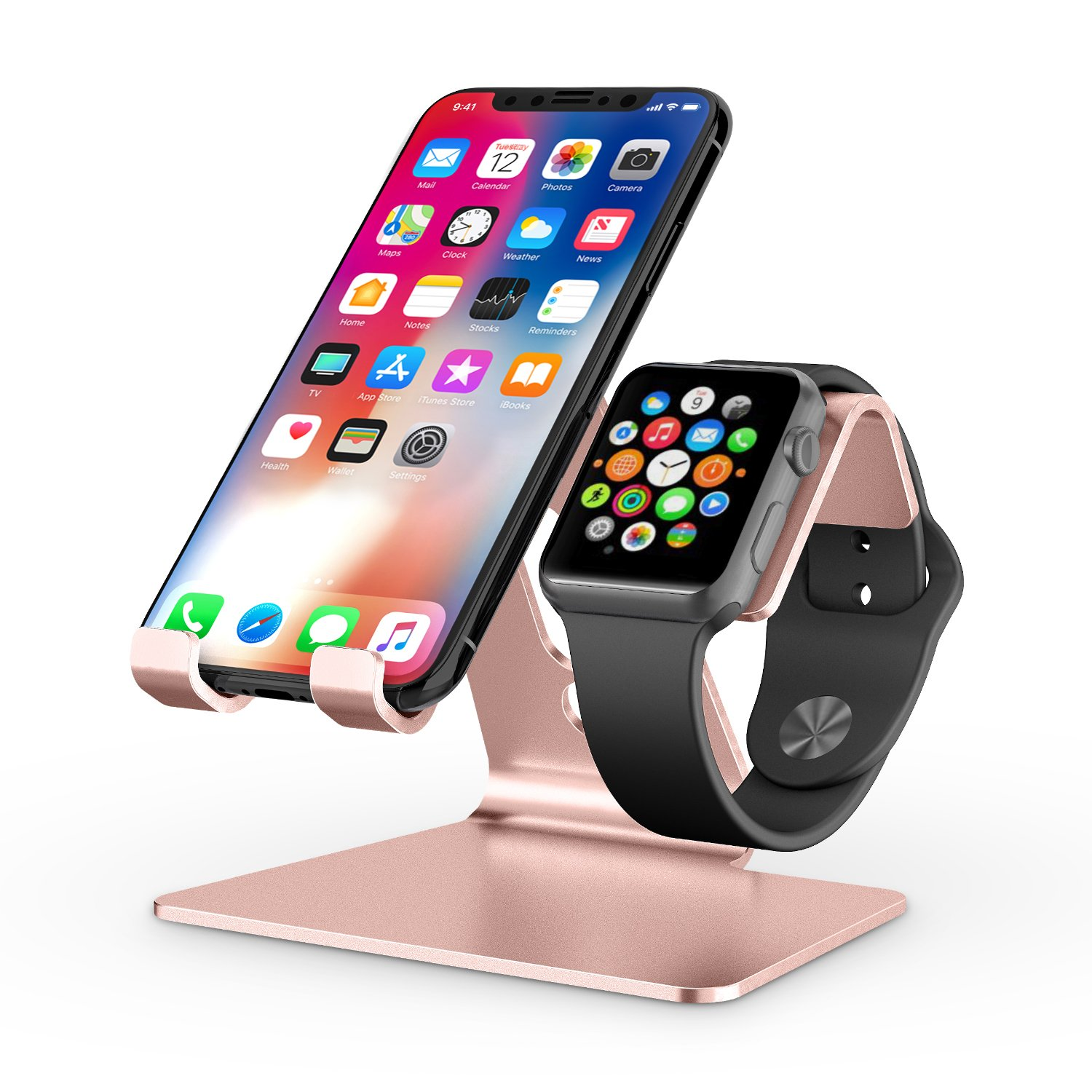 Apple Watch Stand, OMOTON 2 in 1 Universal Desktop Cell Phone Stand and Apple Watch Stand, Advanced 4mm Thickness Aluminum Stand Holder for iPhone and Apple Watch (Both 38mm & 42mm), Rose Gold by OMOTON (Image #1)