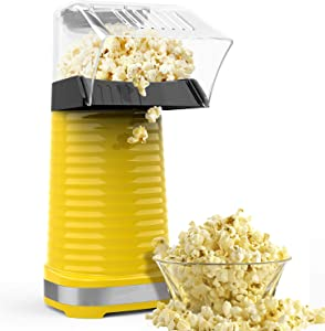 Hot Air Popper Popcorn Maker, 1200W Hot Air Popcorn Popper, Electric Popcorn Machine with Removable Lid for Home Use, No Oil Needed, Great for Kids, Yellow(1200W)