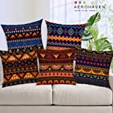 AEROHAVEN Decorative Hand Made Jute Throw/Pillow Cushion Covers (Multicolour, 16 x 16 inch) Set of 5
