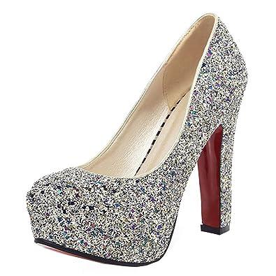 YE Chunky High Heels Plateau Glitzer Pumps mit Pailletten Bequem  Blockabsatz Elegant Party Schuhe Damen Absatz ff22854281