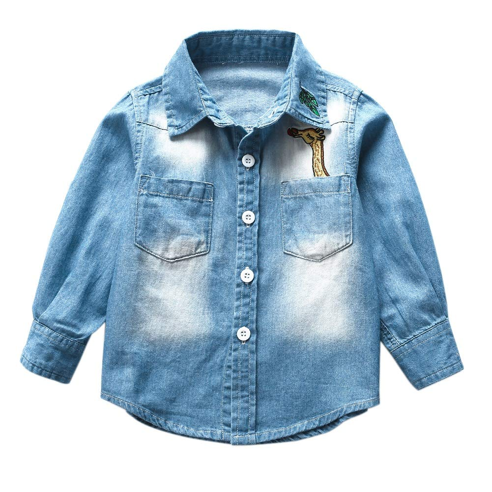BOBORA Little Boys Girls Long Sleeve Denim T-Shirt Kids Fashion Jeans Tops Shirt with Pocket Giraffe for 2-9Years BO-UK1051