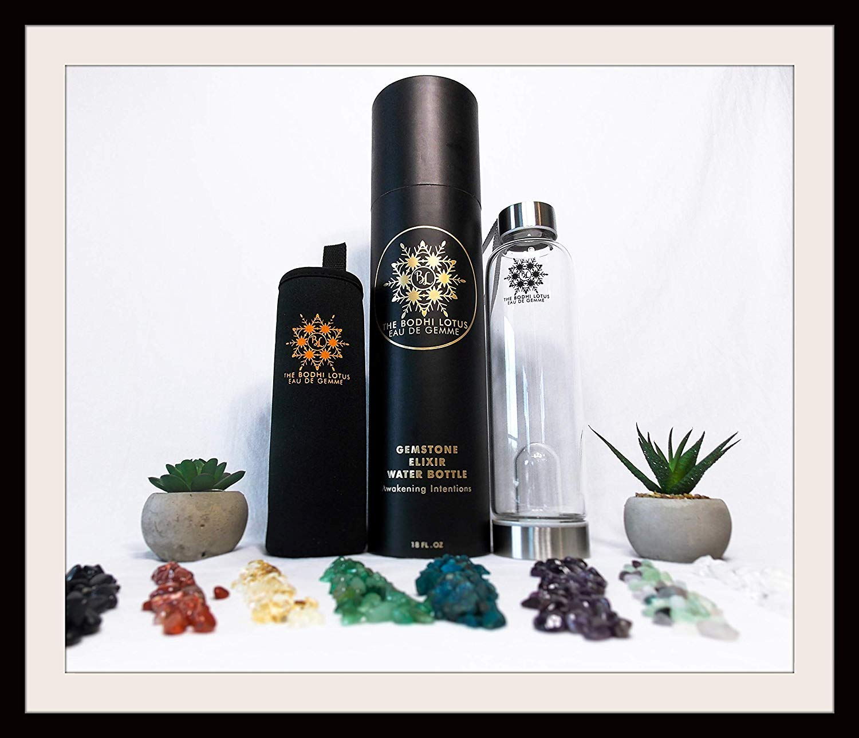 The Bodhi Lotus EAU DE GEMME Clear Quartz Jade Gemstone Water Bottle Elixir 18 Oz Crystal Water Bottle Sports Crystal Clear Water Bottle With Jade