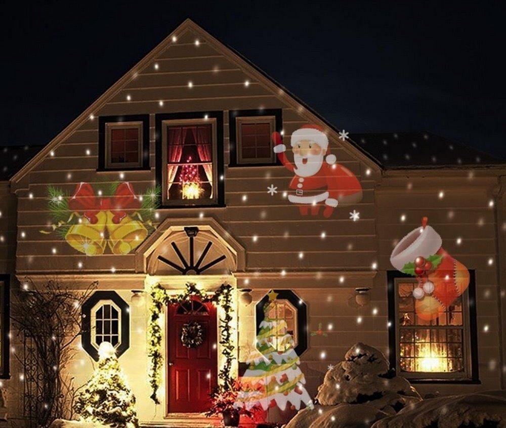 Laser Light Sunsbell Snowflake Led Landscape Spotlight - 12 Slides Sparkling Laser Light Show Rotating Outdoor Projection Lights