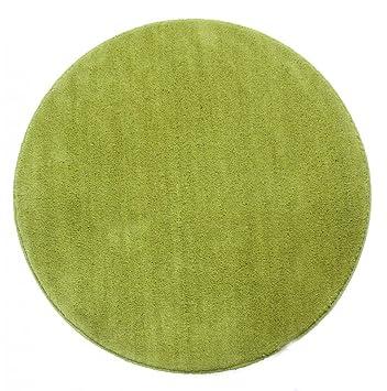 Homescapes Dekorativer Kurzflor Teppich rund grün - 16 cm: Amazon ...