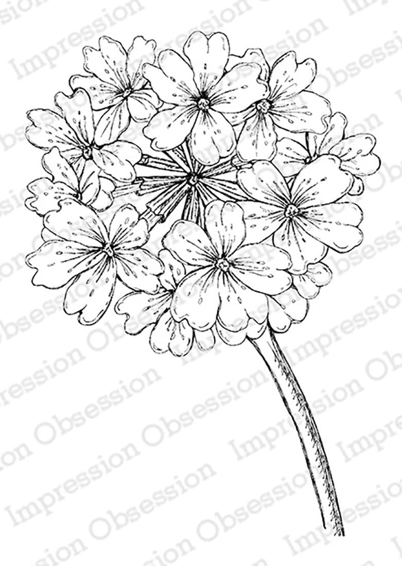 Impression Obsession IO Verbena Blossom Cling Red Rubber Stamp F16363