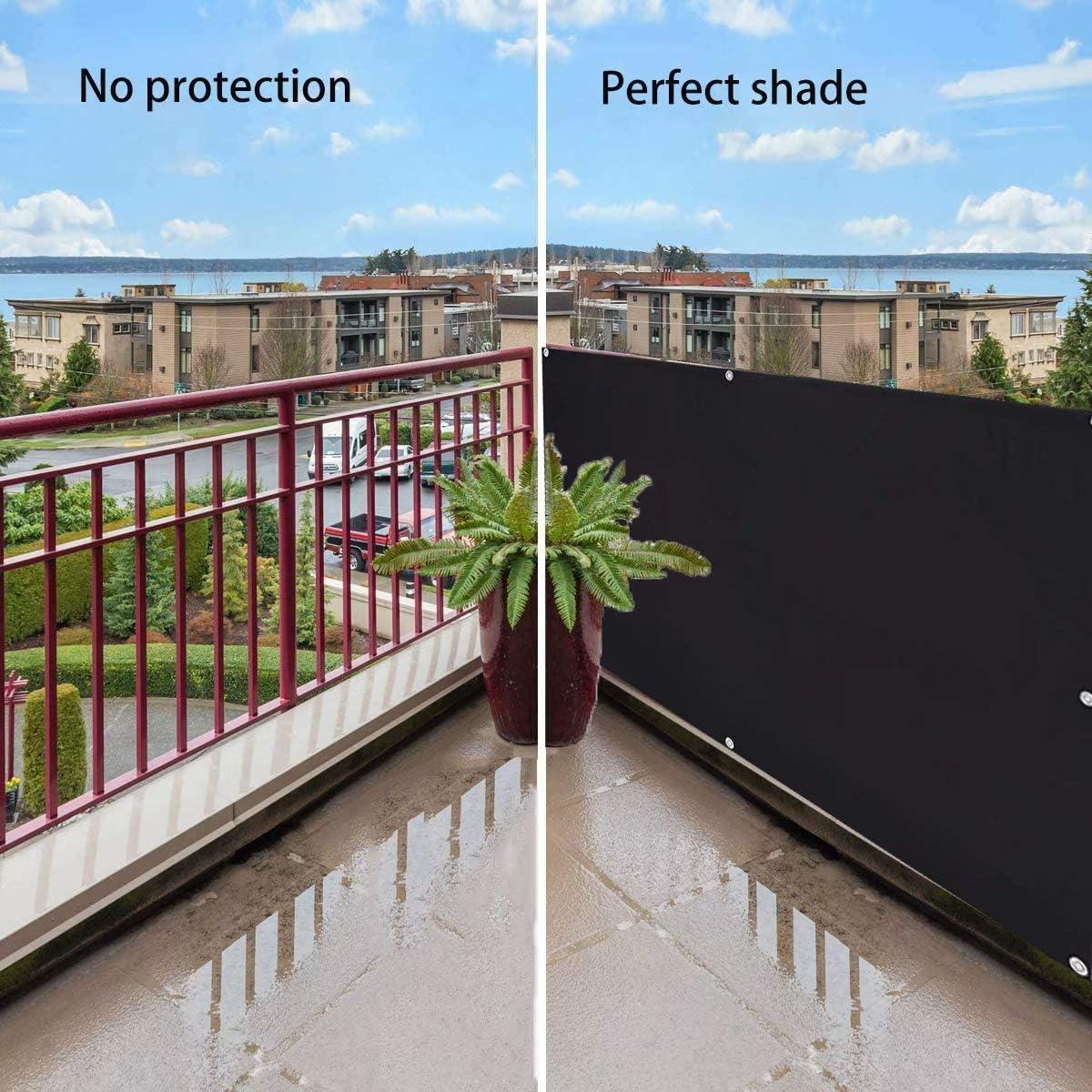 Balcone Muchas Copertura per Balcone Idrorepellente Frangivento Protezione da Raggi con Fascette e funi per Giardino Nero 0.5x3m
