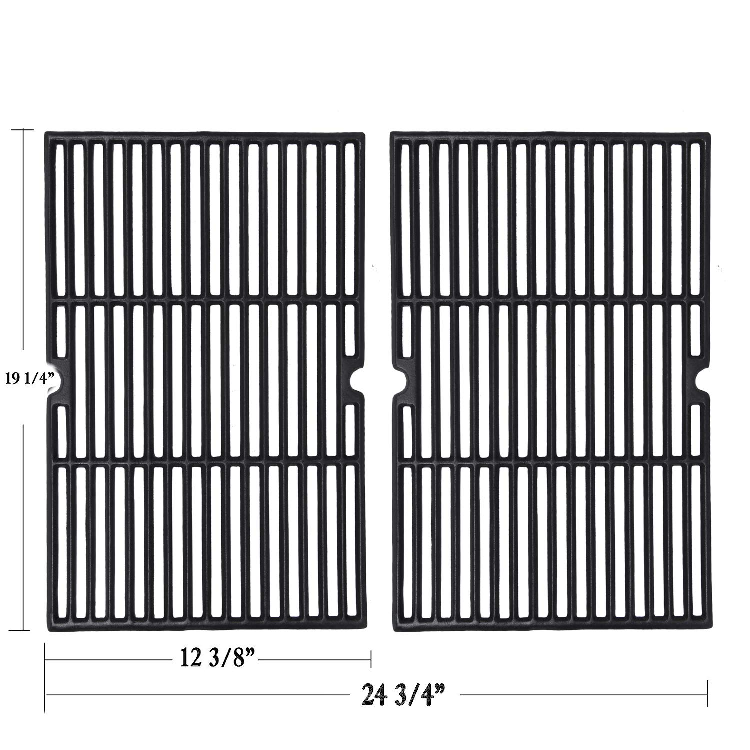 GGC Grill Grid Grate Replacement for Charmglow, BBQ Grillware, Jenn-Air, Grill Zone, Weber, Kenmore, Nexgrill and Others, 2-Pack Porcelain Coated Cast Iron Cooking Grid (12 3/8'' x 19 1/4'' for Each)
