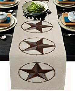 Texas Western Star Rustic Table Runner-Cotton linen-Long 108 inche Barn Star Dresser Scarves,Kitchen Coffee/Dining Farmhouse Cowboy Tablerunner for Country Home Living Room,Holiday Dinner Scarf Decor