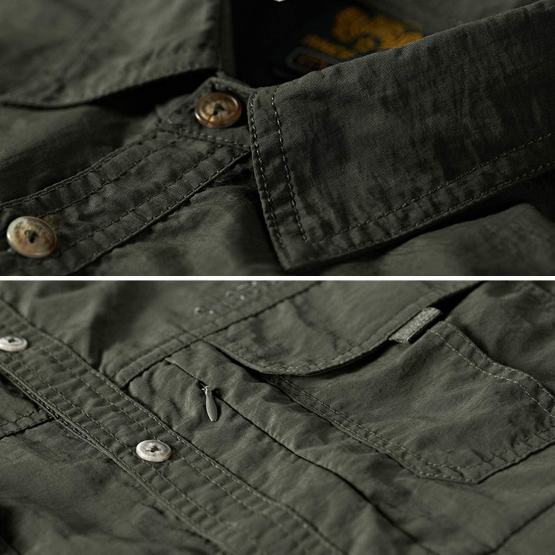 Mens Short Sleeve Shirts Pocket Outdoor Dri fit Fishing Shirt Loose fit Denim Jacket