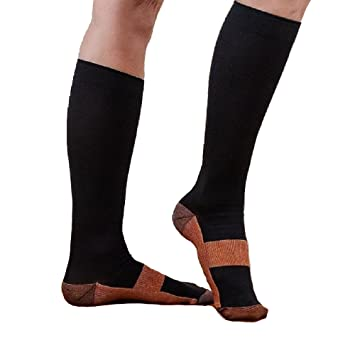 4d5d20d04f Image Unavailable. Image not available for. Color: Knee High Copper  Threaded Compression Copper Socks