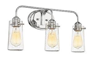 """Kira Home Rayne 22.5"""" Modern 3-Light Vanity/Bathroom Light, Seeded Glass + Chrome Finish"""