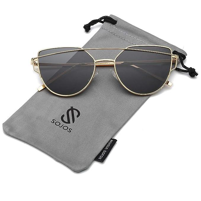 SOJOS Gafas De Sol De Moda Marca Metal Para Mujer-Lentes Planos De Espejo- Con Estilo Ojo De Gato SJ1001 Dorado Frente/Gris Lentes