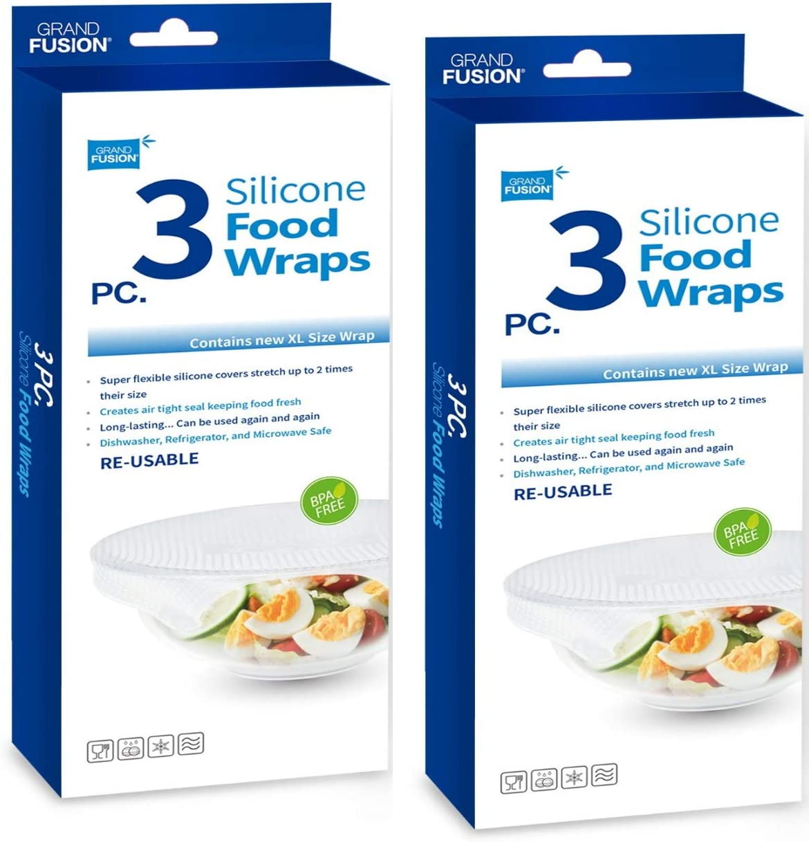 Flexible Reusable Microwave Safe Silicone Food Wraps. Clear BPA Free Cling Films Stretch Twice Their Size Making Air Tight Seals Around Ceramic and Most Plastic Plates and Bowls Preserving Food (6)