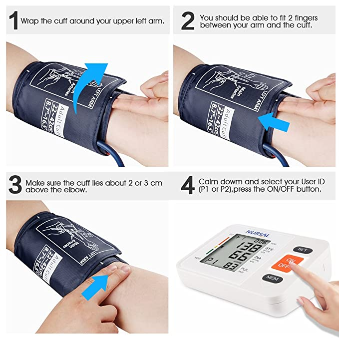 Nursal Monitor digital de presión arterial para el brazo con indicador WHO Indicador de pantalla LCD para 2 usuarios (almacenamiento de 2*90), ...