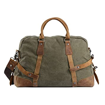 28b63d68f0 Travel Duffel Large Totes Weekend Bag Canvas Leather Trim - Green