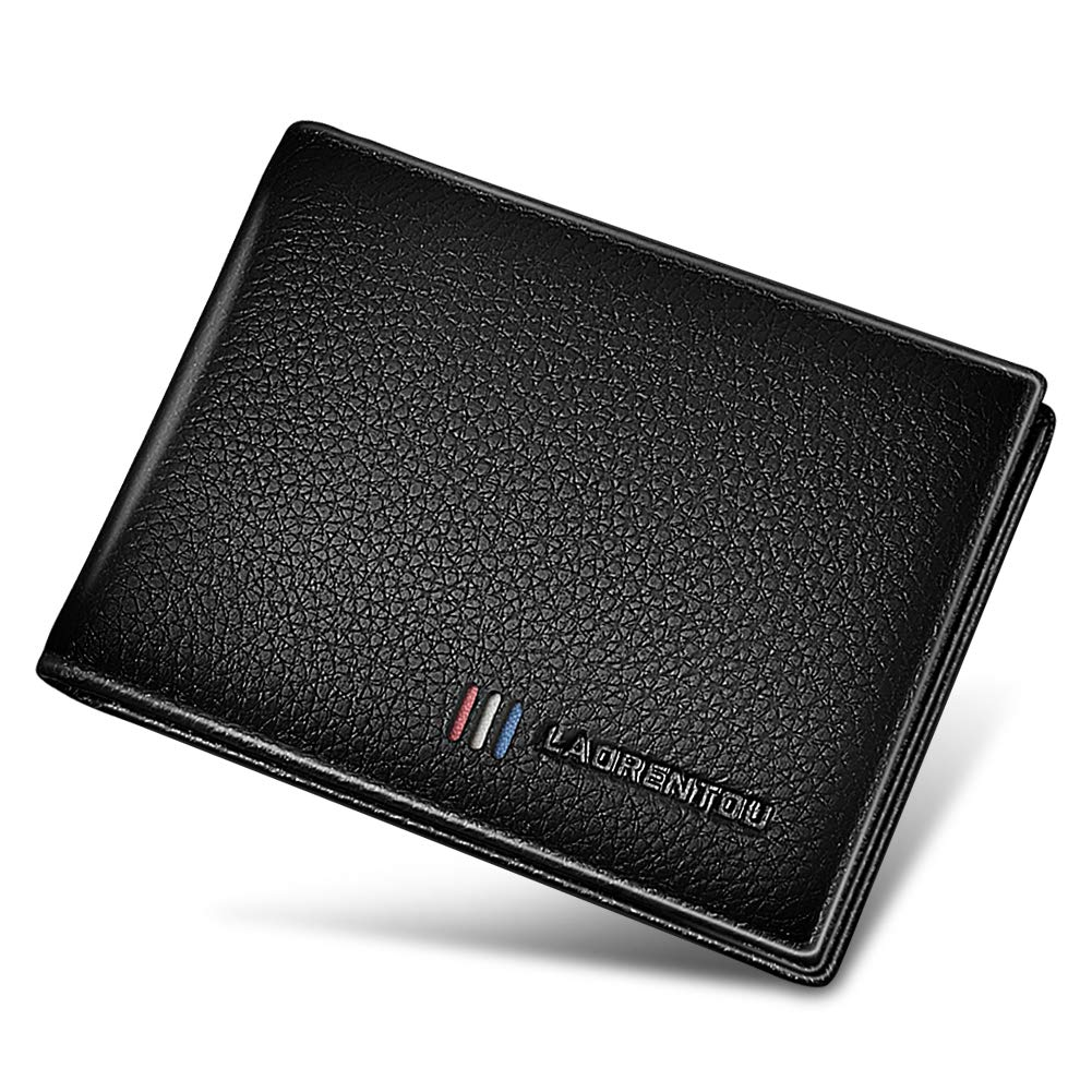 LAORENTOU Men Wallet Genuine Leather Slim Pocket Wallets for Men Driver License ID Window Credit Card Case Holder (BLACK-3)