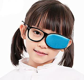 f423ff52b897 Amazon.com: Reusable Silk Eye Patch for Glasses to Treat Amblyopia  Strabismus Lazy Eye Patch Visual Acuity Recovery For Children Blue: Beauty