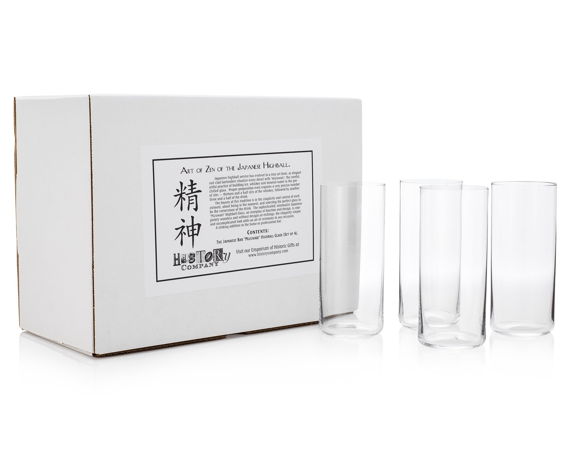 Japanese Bar''Mizuwari'' Highball Glass (Gift Box Set of 4) by HISTORY COMPANY