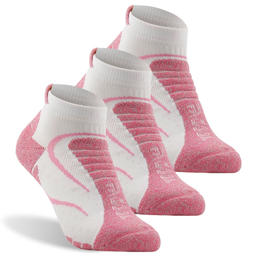 Facool Golf Socks, Facool Mid Hiker Pro Quarter Length Sock,Women's Running Hiking Pro Socks, Moisture Wicking Multi Performance Outdoor Hiking Trekking Crew Socks 3 Pairs Pink/White Large by Facool