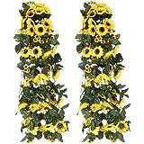 TOOGOO(R) 2 fasci di girasole artificiale indietro Staffa pianta, fiore, foglia cespuglio falso piante