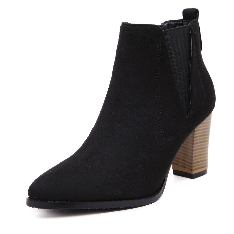 CXQ-Bottes QIN&X Fond épais pour Femmes Chaussures Bottillons Courts,34,Gris