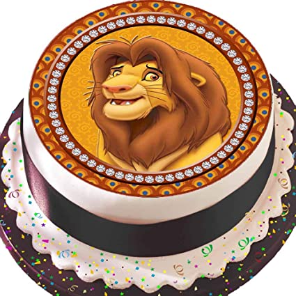 Superb Precut Edible Icing Cake Topper 7 5 Inch Round Lion King Simba Funny Birthday Cards Online Barepcheapnameinfo