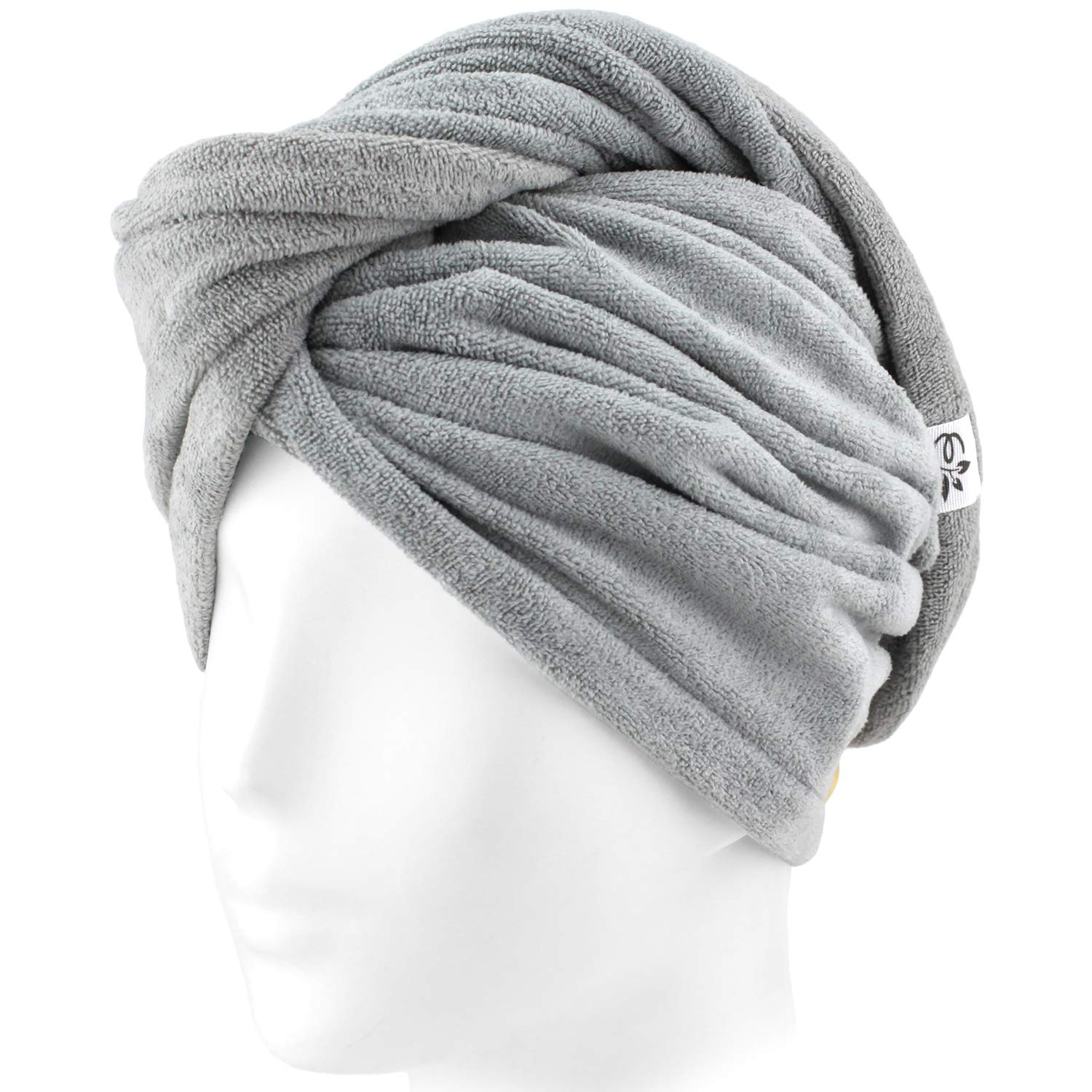 Evolatree Microfiber Hair Towel Wrap - Quick Magic Hair Dry Hat - Anti Frizz Products For Curly Hair Drying Towels - Neutral Gray by Evolatree (Image #5)