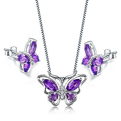 Aurora Tears Butterfly Jewelry Set Created Crystal Necklace Earrings for Women mkN5rYhIKv
