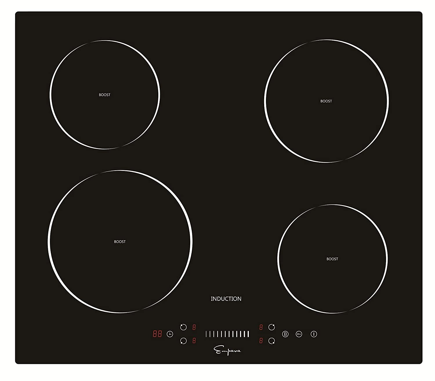 Empava EMPV-IDC24 Electric Induction Cooktop with 4 Booster Burners Smooth Surface Black Tempered Glass