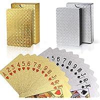 joyoldelf Lot de 2 Jeu de Carte, Cartes de Poker Imperméable en Feuille 24K avec Boîte-Cadeau, Outil de Tours de Magie Classique pour la Fête et Le Jeu, 1 Or + 1 Argent (Or + Argent)