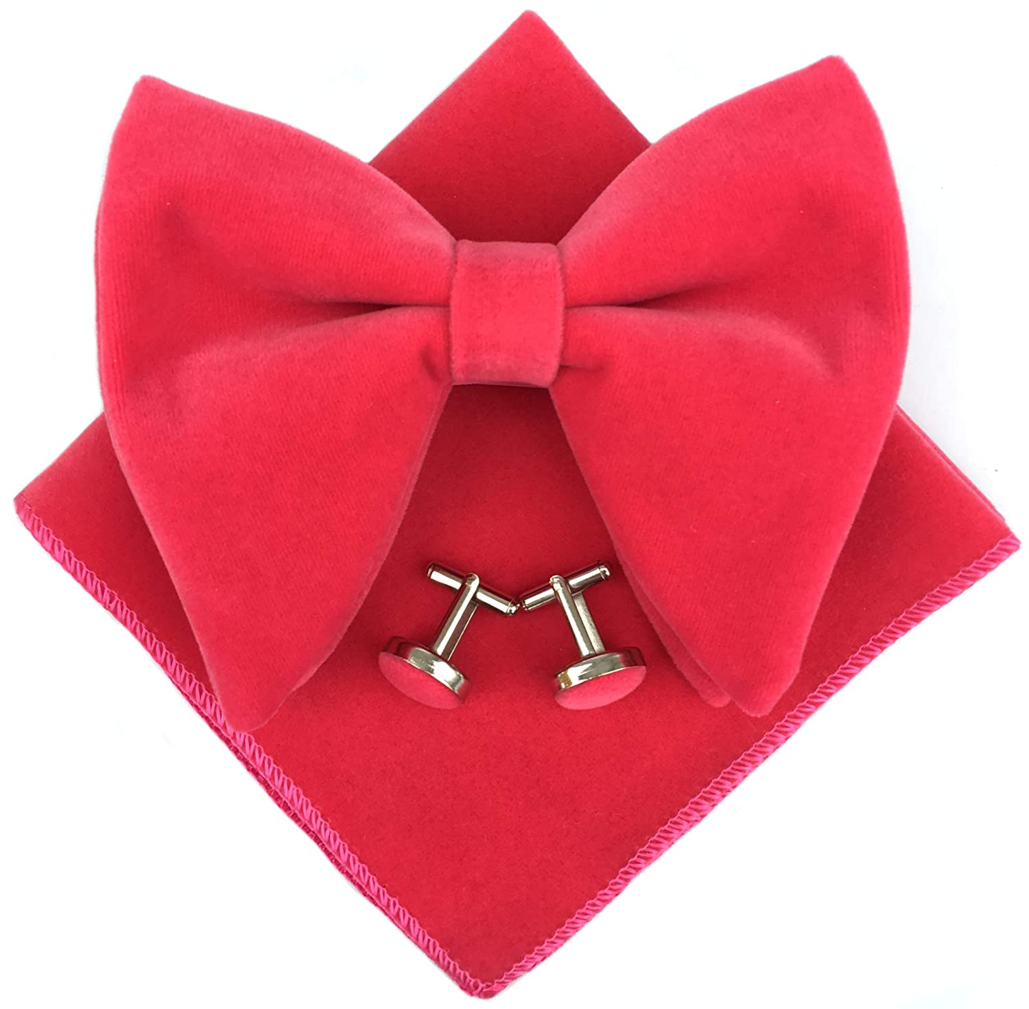Mens Pre-Tied Oversized Bow Tie Tuxedo Velvet Bowtie Cufflinks Hankie Combo Sets