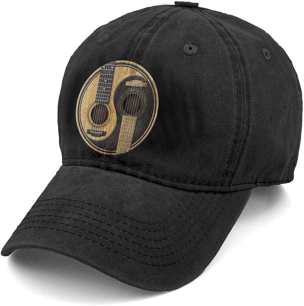 Unisex Old and Worn Acoustic Guitars Yin Yang Denim Hat Adjustable Washed Dyed Cotton Dad Baseball Caps: Clothing