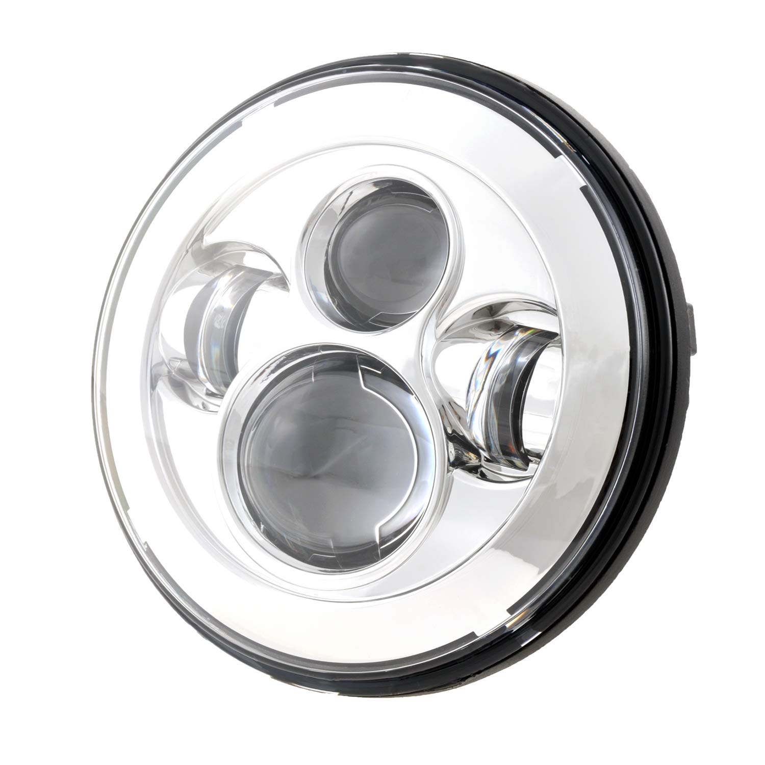 Dot Appoved Chrome Harley 7inch LED Headlight with 4.5inch Matching Chrome Passing Lamps for Harley Motorcycles with Adapter Ring and wire adapter LX-LIGHT 0048A+003B+JB