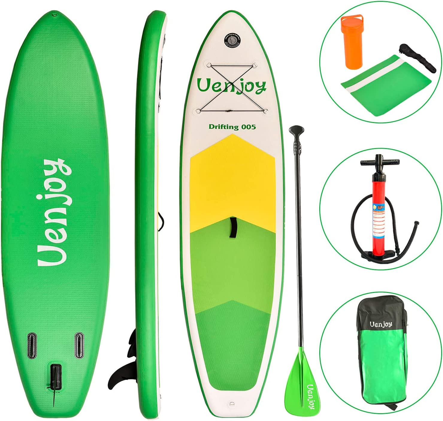 """Best Uenjoy Inflatable Sup 10'30""""x6"""" All Around Paddle Board"""