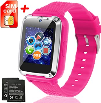 Kids Smartwatch [SIM Card and Extra Battery Included], Kids Smart Watch Phone with 12/24 H Touch Screen SOS Camera Games Flashlight Electronic ...