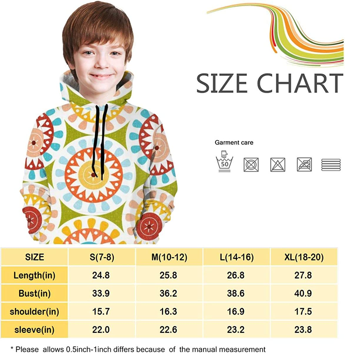 Kjiurhfyheuij Teen Pullover Hoodies with Pocket Floral Pattern Soft Fleece Hooded Sweatshirt for Youth Teens Kids Boys Girls