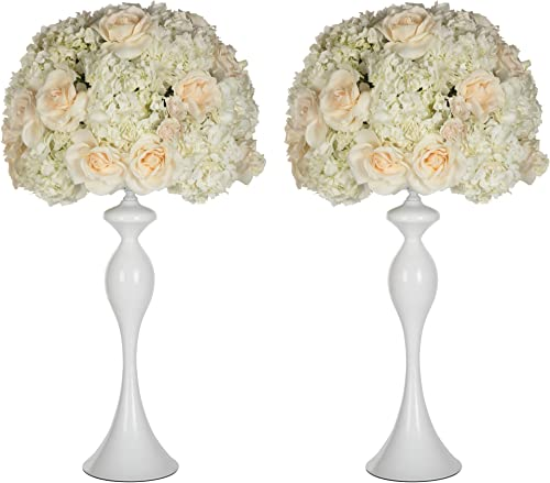 Amalfi Decor 2 Piece Tall Wedding Centerpiece Metal Pillar Vase for Flower Ball Floor Cylinder Bouquet Aisle Decoration for Weddings Ceremony and Table Floral Arrangement, 23 High, White