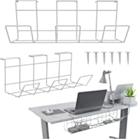 Black Under Desk Cable Management Tray - Cable Organizer for Wire Management. Metal Wire Cable Tray for Office and Home…