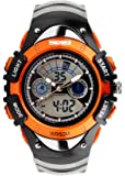 SKMEI Kinder Sport Armbanduhr Resin Analog Digital Quarz Kalender Alarm Chronograph 5ATM wasserdicht orange 0998