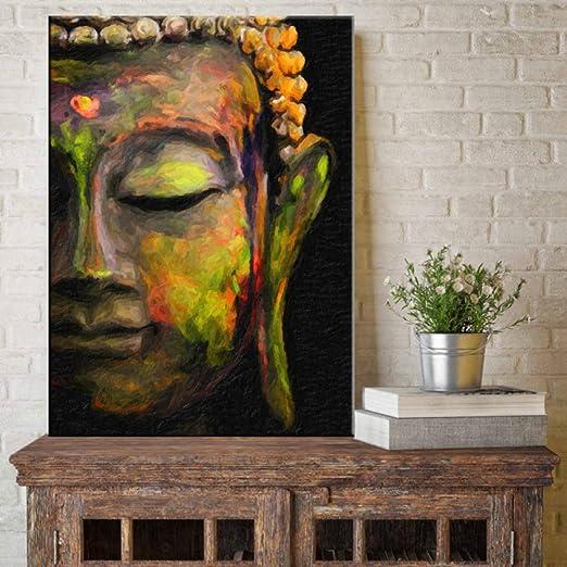 NIMCG Lienzo Pintura Arte de la Pared Chapa Moderna Pintura al óleo Grande Buda Mural sobre Lienzo Decoración del hogar (Sin Marco) 60x90CM: Amazon.es: Hogar